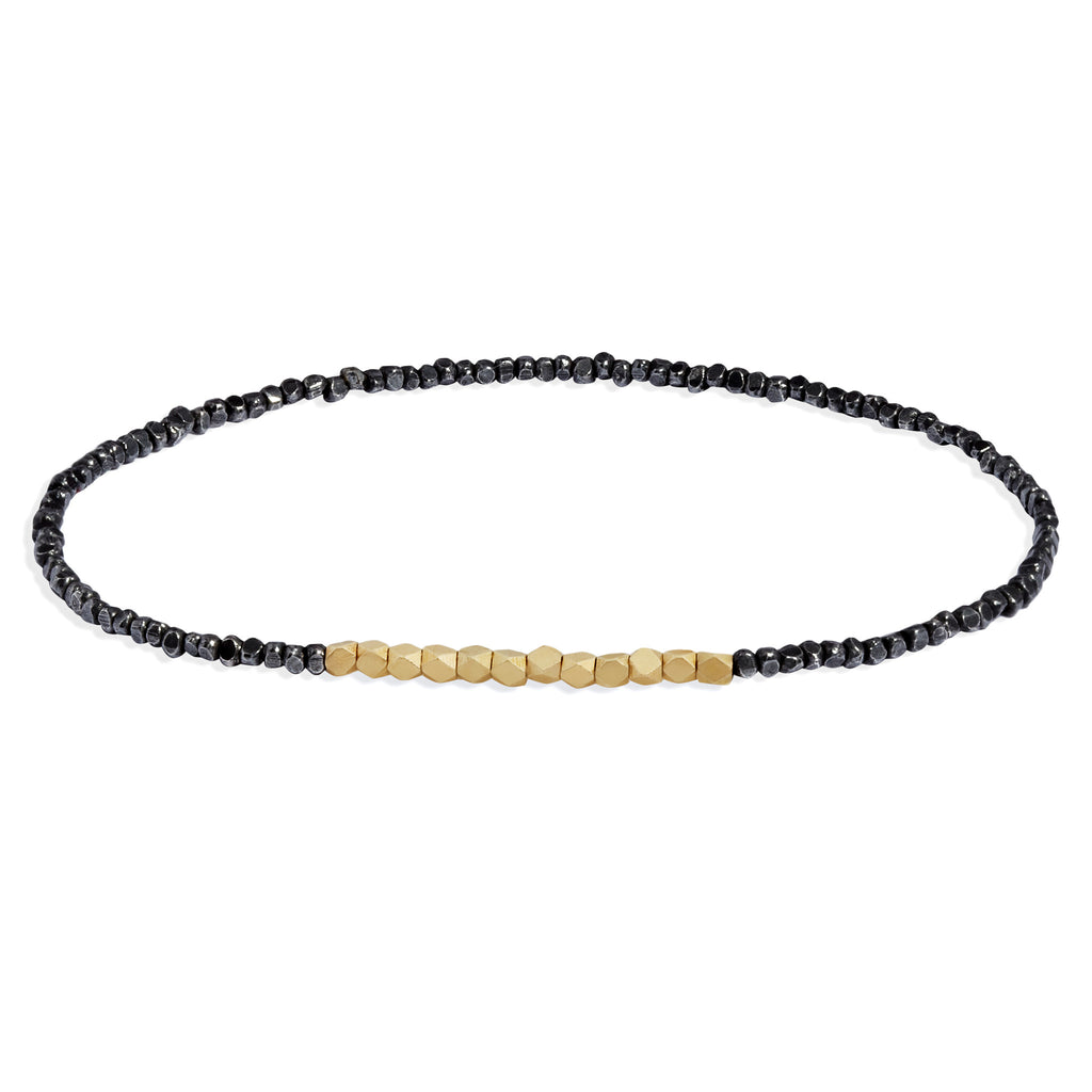 Men's Oxidised Silver and Yellow Gold Beaded Bracelet