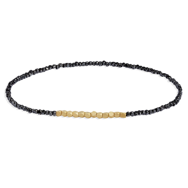 Men's Oxidised Silver and Yellow Gold Beads Bracelet