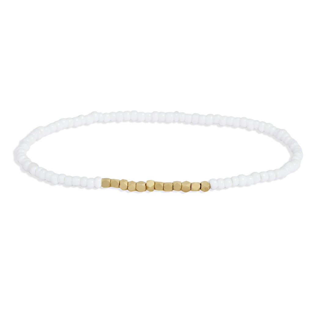 Women's White Beaded Bracelet with Yellow Gold