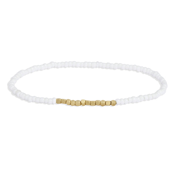 Men's White Beaded Bracelet with Yellow Gold