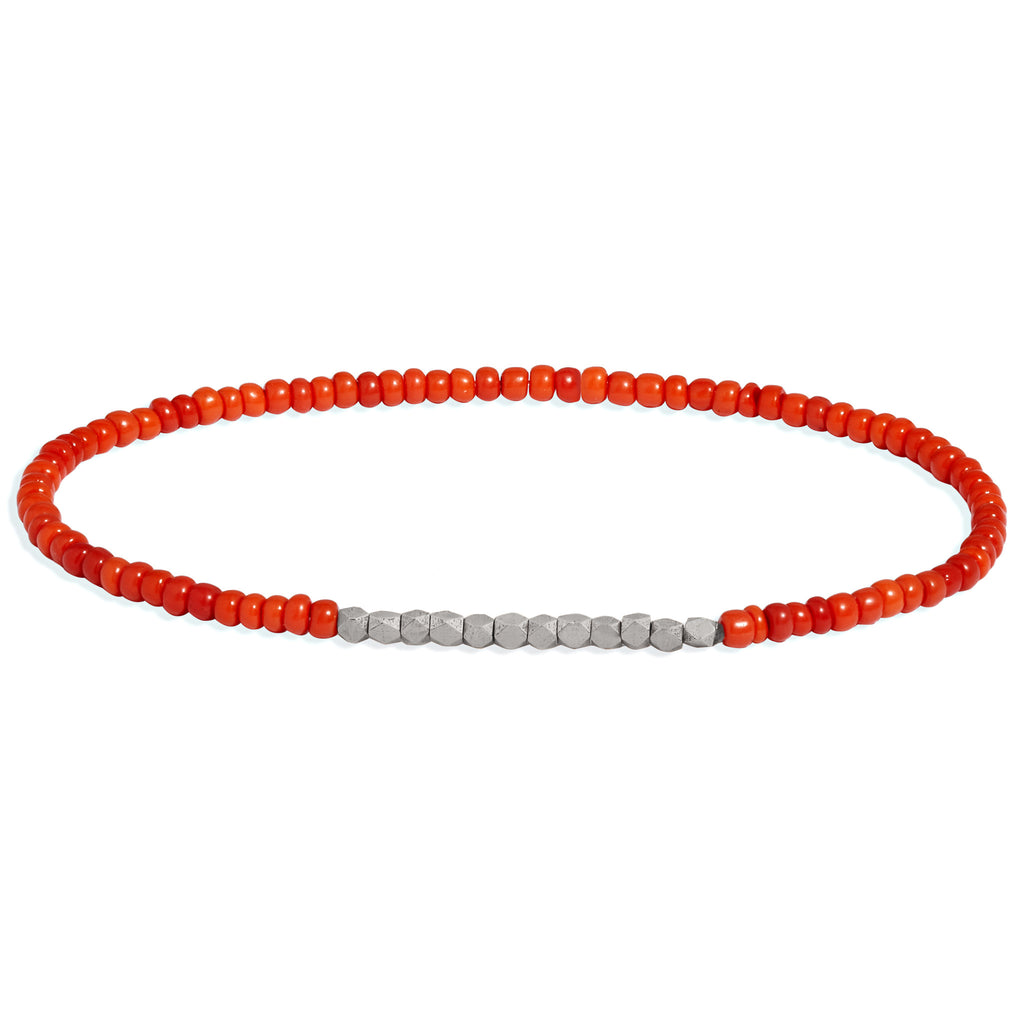 Men's Dark Orange Beaded Bracelet with White Gold
