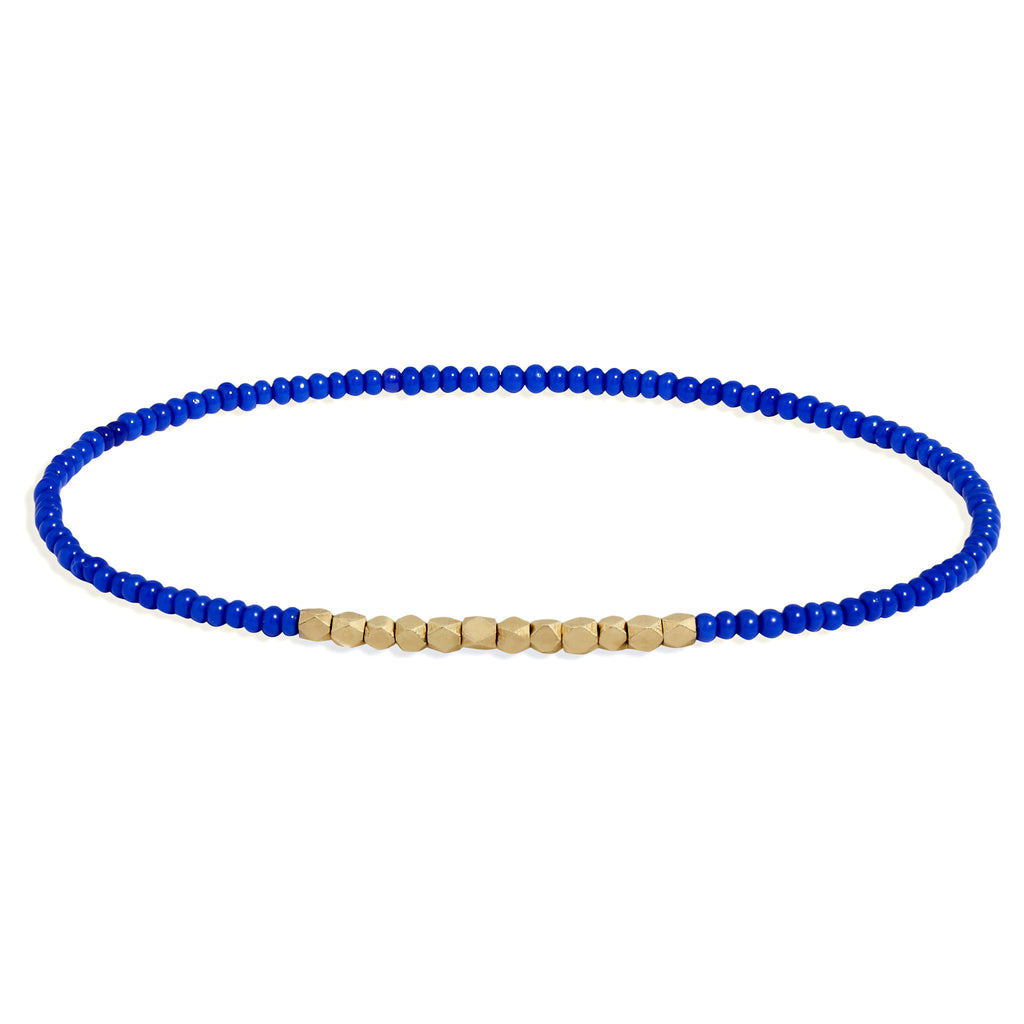 Men's Electric Blue Beaded Bracelet with Yellow Gold
