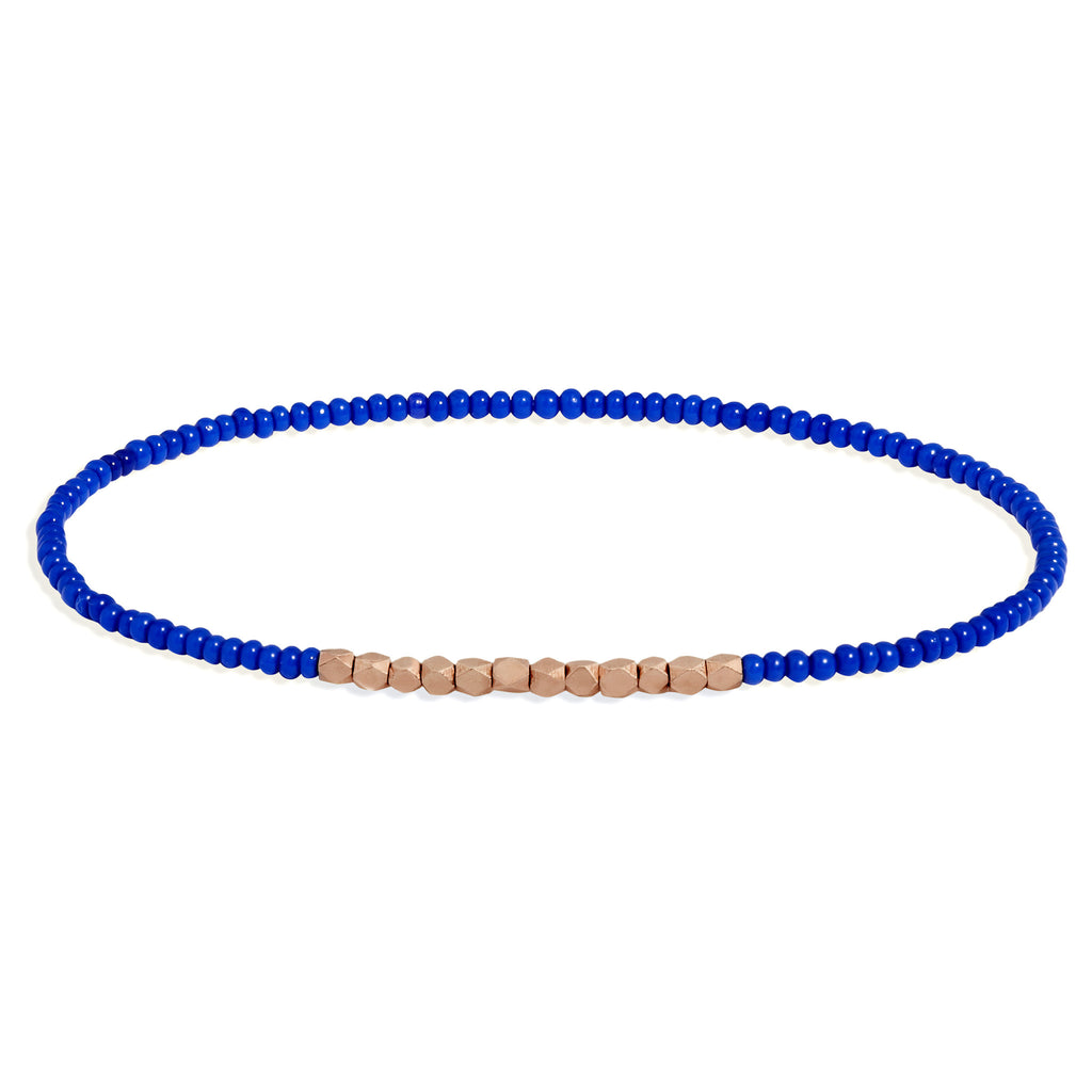 Men's Electric Blue Beaded Bracelet with Rose Gold