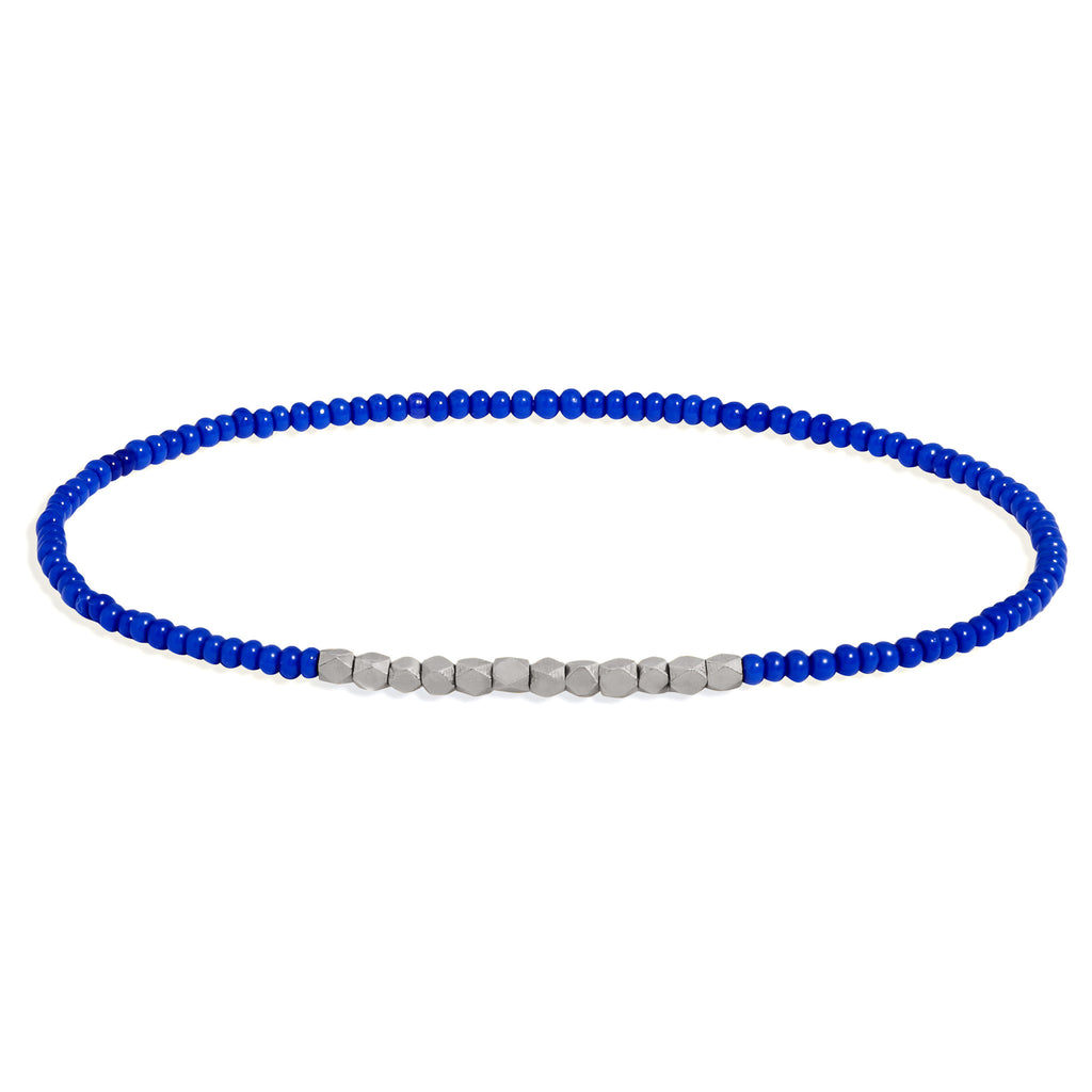 Men's Electric Blue Beaded Bracelet with White Gold