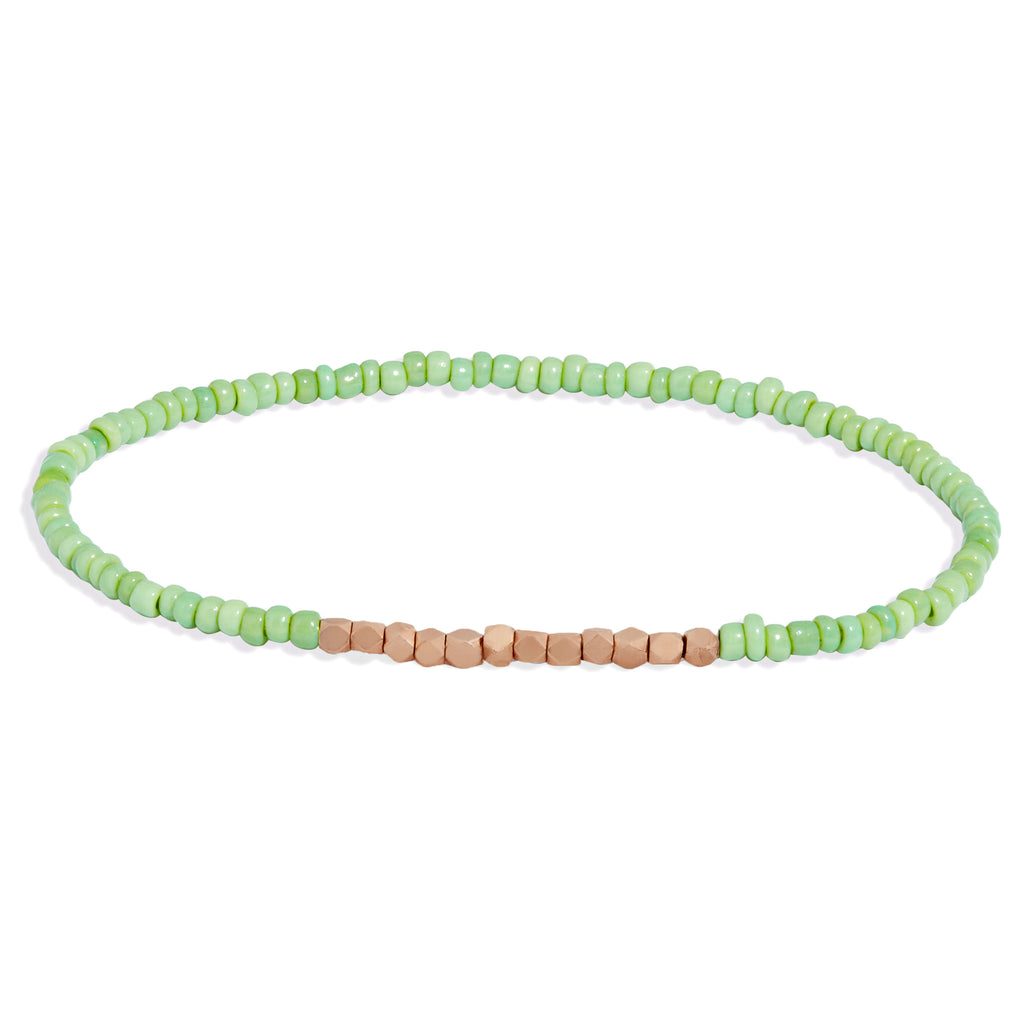 Men's Mint Green Beaded Bracelet with Rose Gold