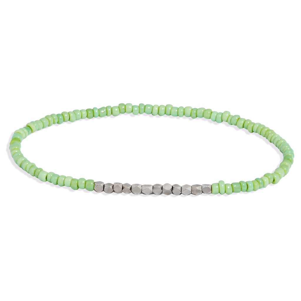 Men's Mint Green Beaded Bracelet with White Gold