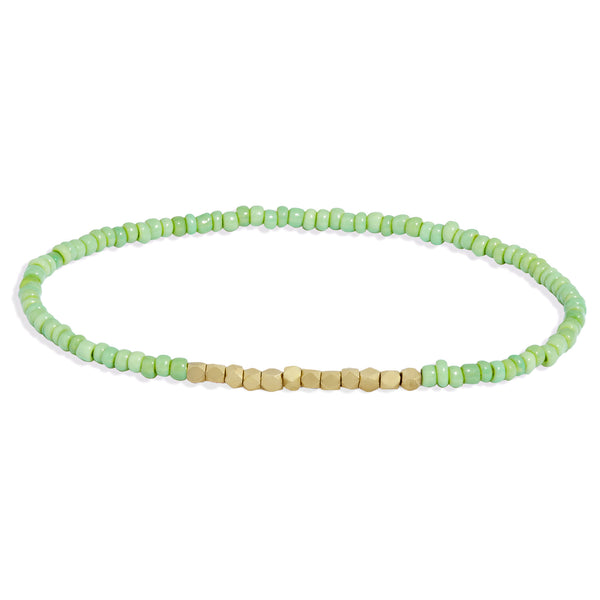 Men's Mint Green Beaded Bracelet with Yellow Gold
