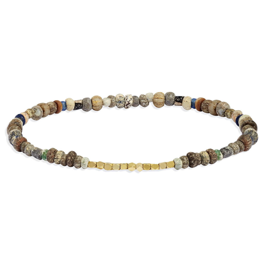 Men's Neutral Mali Beaded Bracelet with Yellow Gold