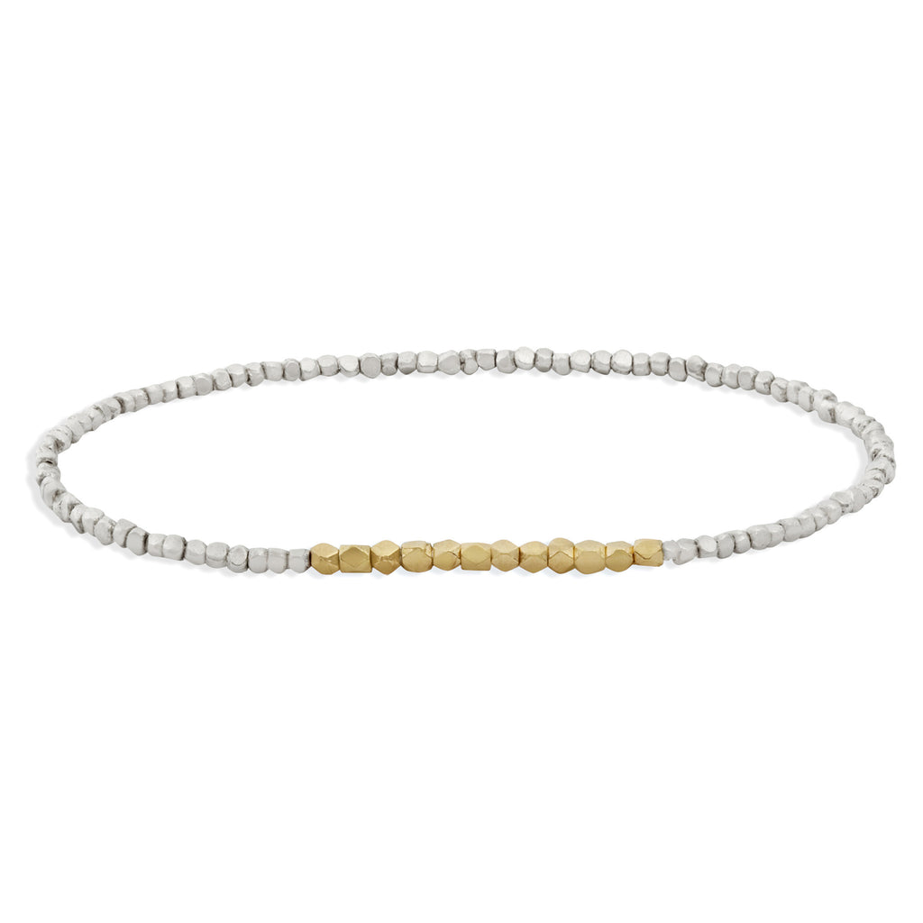 Men's Silver and Yellow Gold Beaded Bracelet