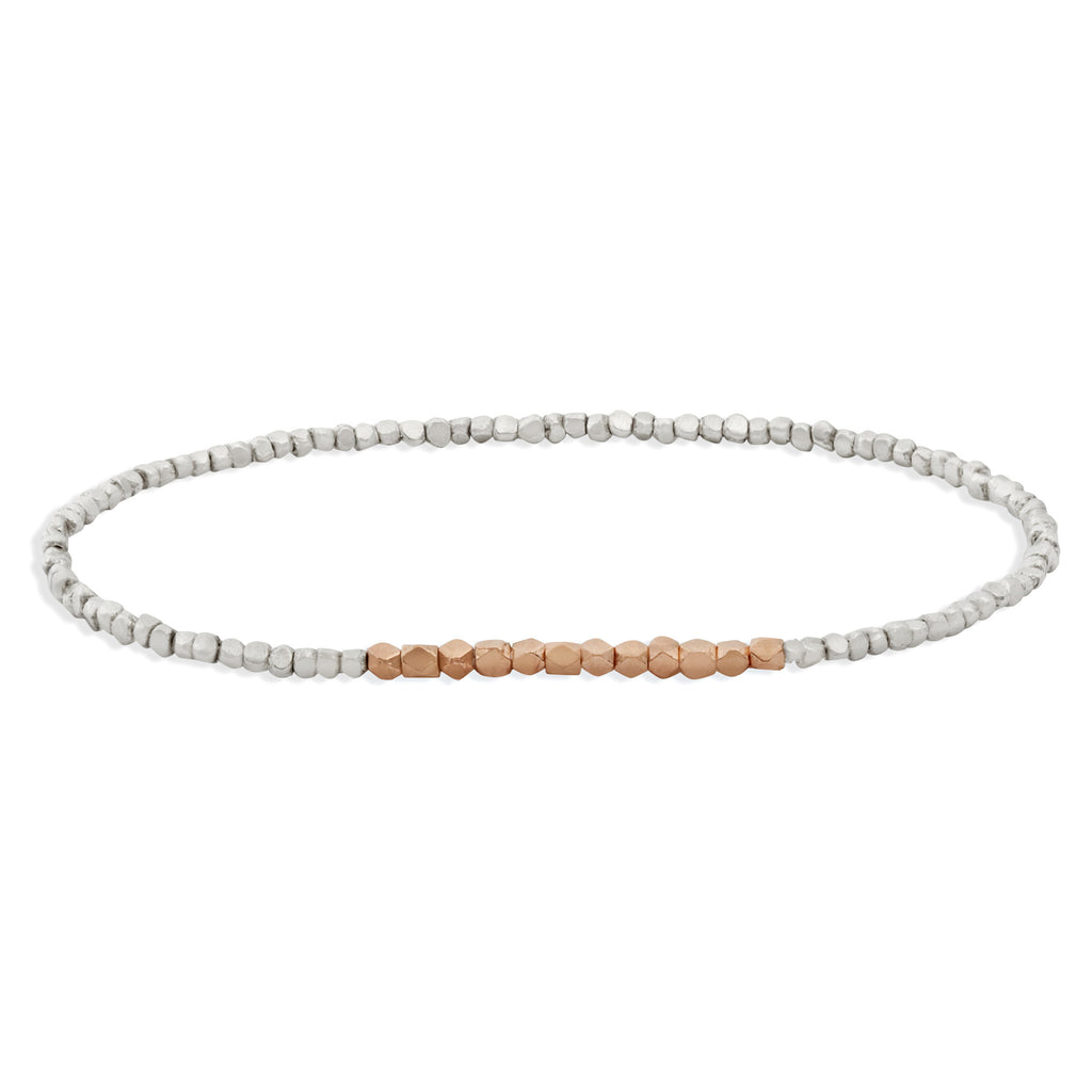 Men's Silver and Rose Gold Beaded Bracelet