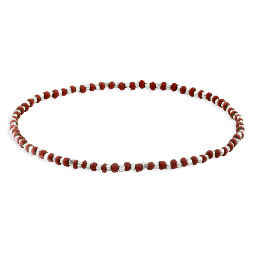 Women's Rust Beaded Bracelet with Silver