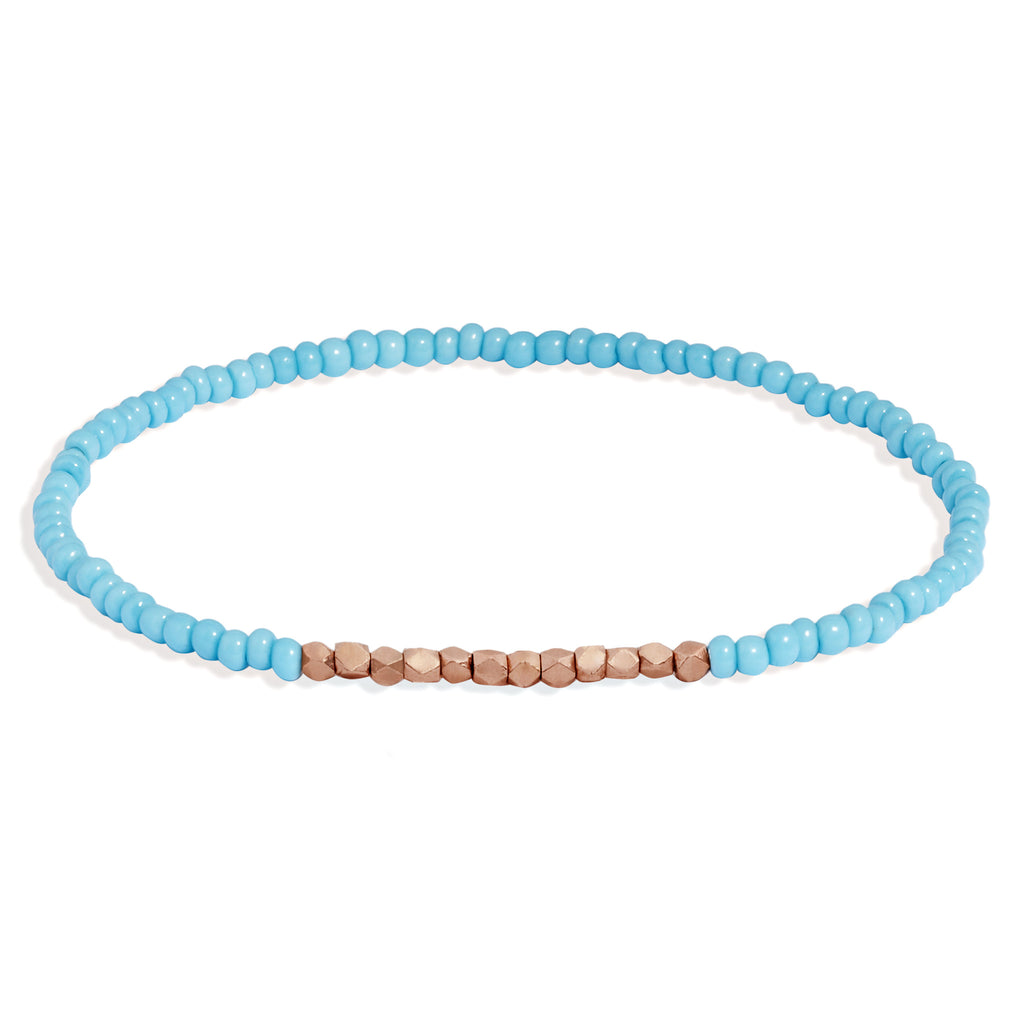 Men's Turquoise Beaded Bracelet with Rose Gold