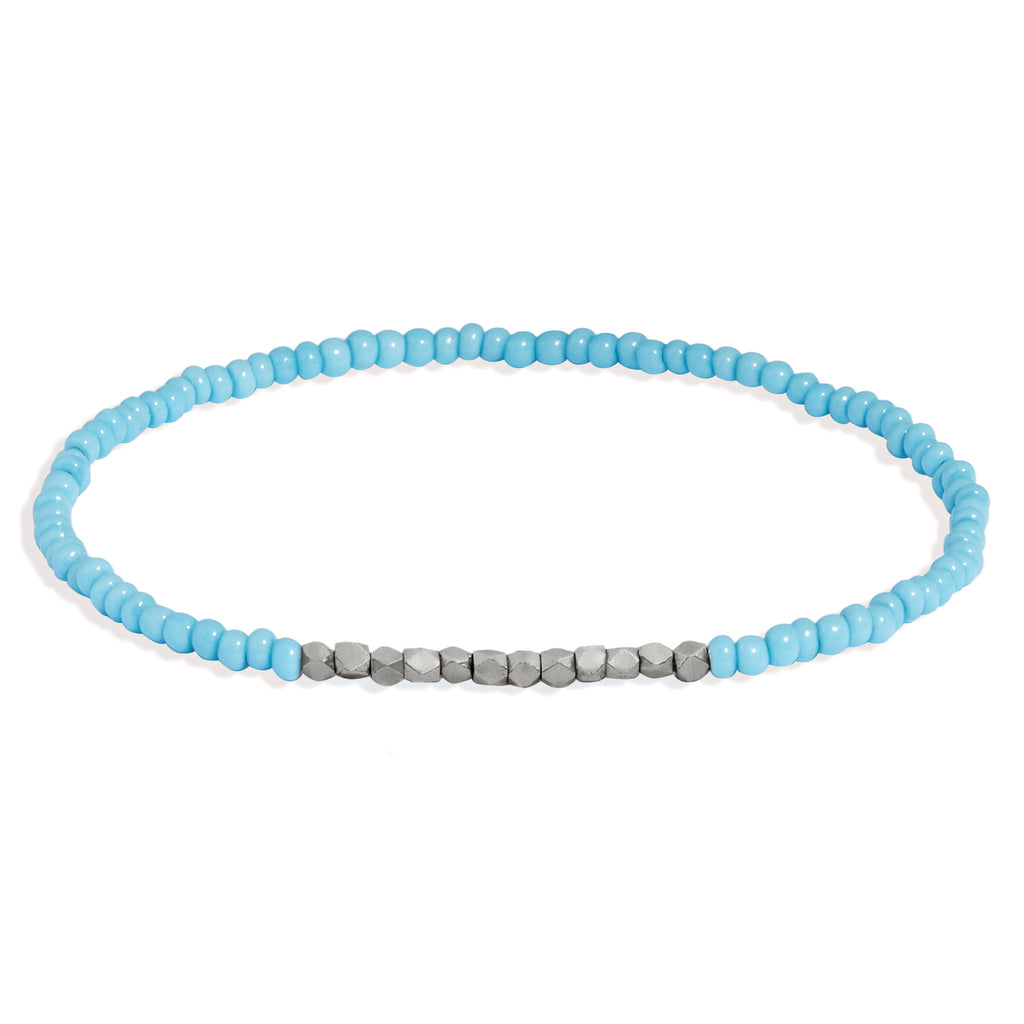 Men's Turquoise Beaded Bracelet with White Gold