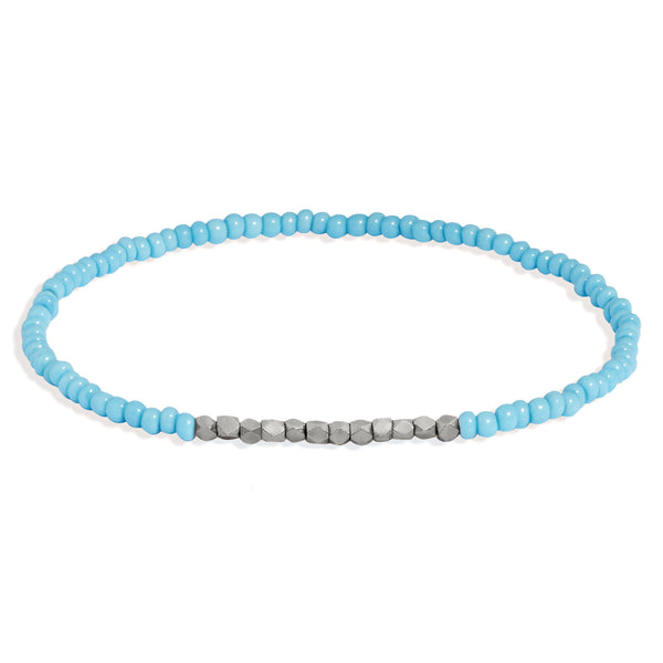 Women's Turquoise Beaded Bracelet with White Gold