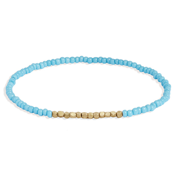 Men's Turquoise Beaded Bracelet with Yellow Gold