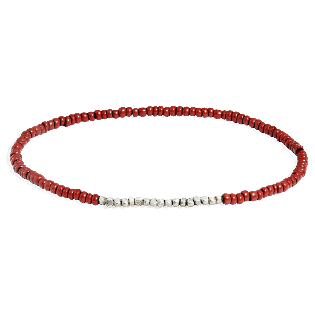 Women's Rust Beaded Bracelet with White Gold