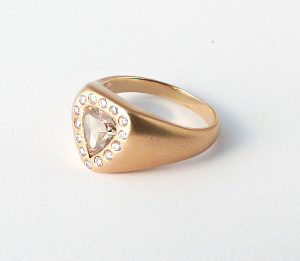 Cognac Diamond and Pink Pave Signet Ring
