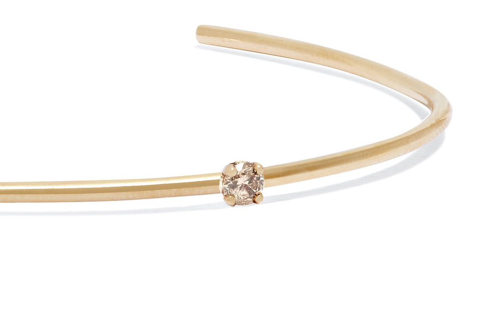 Petite Champagne Diamond Cuff in 9k Gold