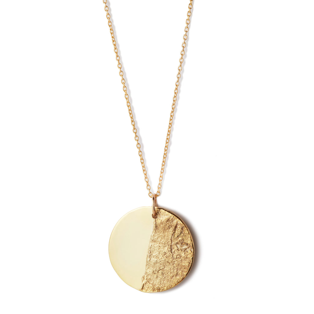 Split Disc Necklace in 18k Gold