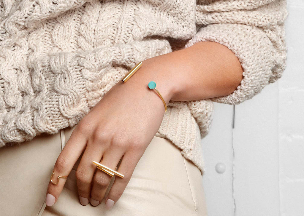 Geometric Cuff in Turquoise and Gold Plate