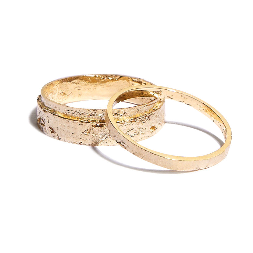 Men's Wrapped Paper Ring in Yellow Gold