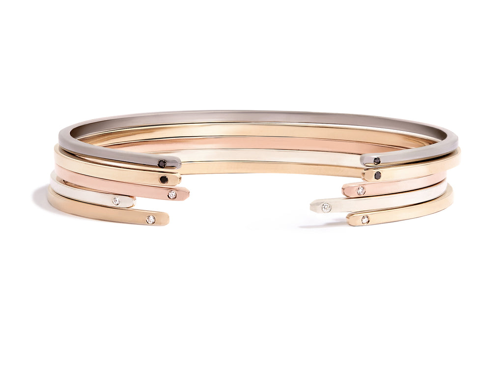 Women's Cuff Bracelet in 18k Rose Gold with White Diamonds