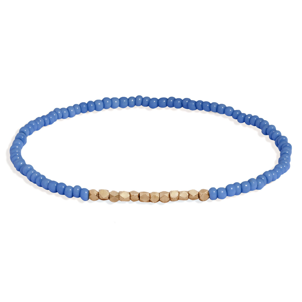 Men's Cornflower Blue Beaded Bracelet with Rose Gold