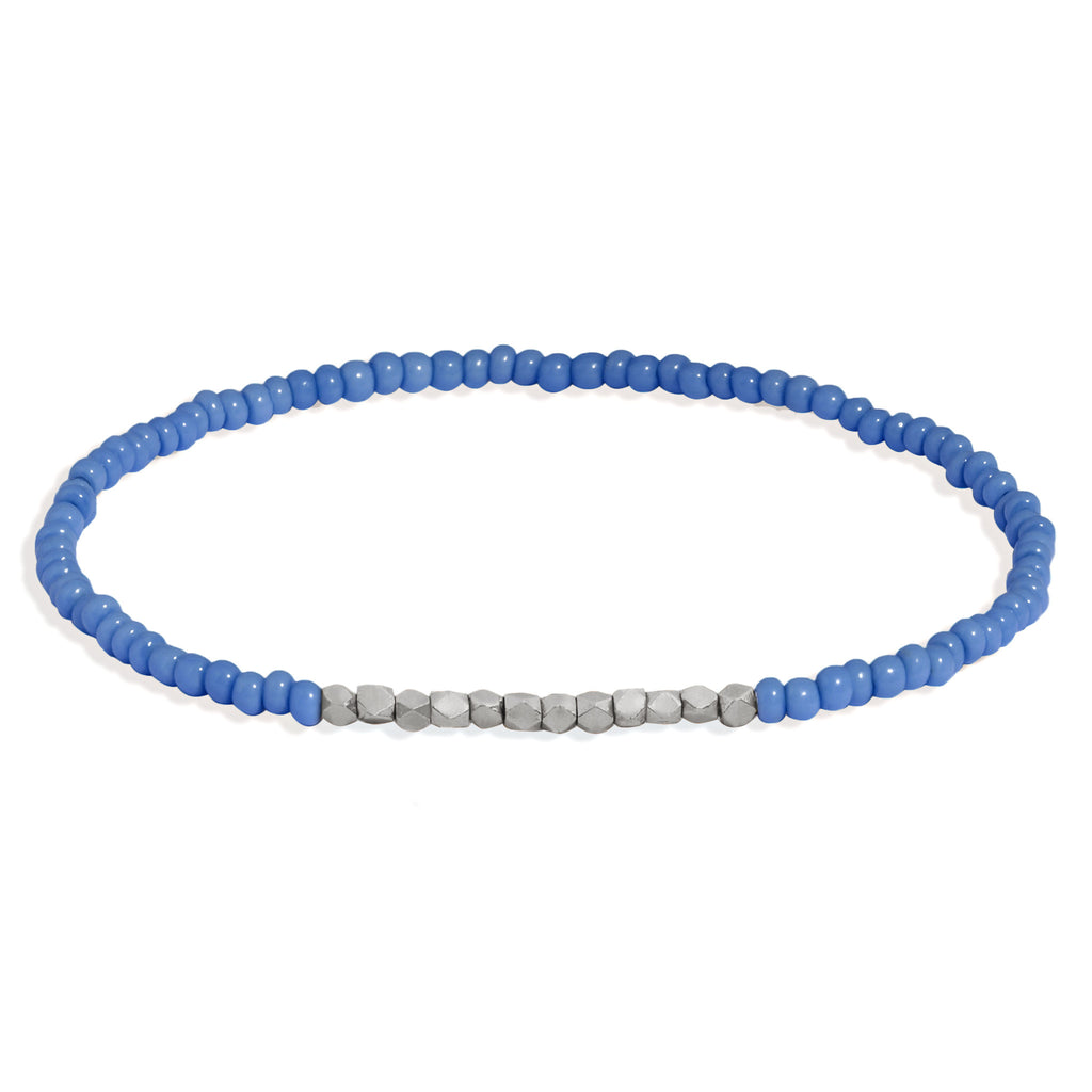 Men's Cornflower Blue Beaded Bracelet with White Gold
