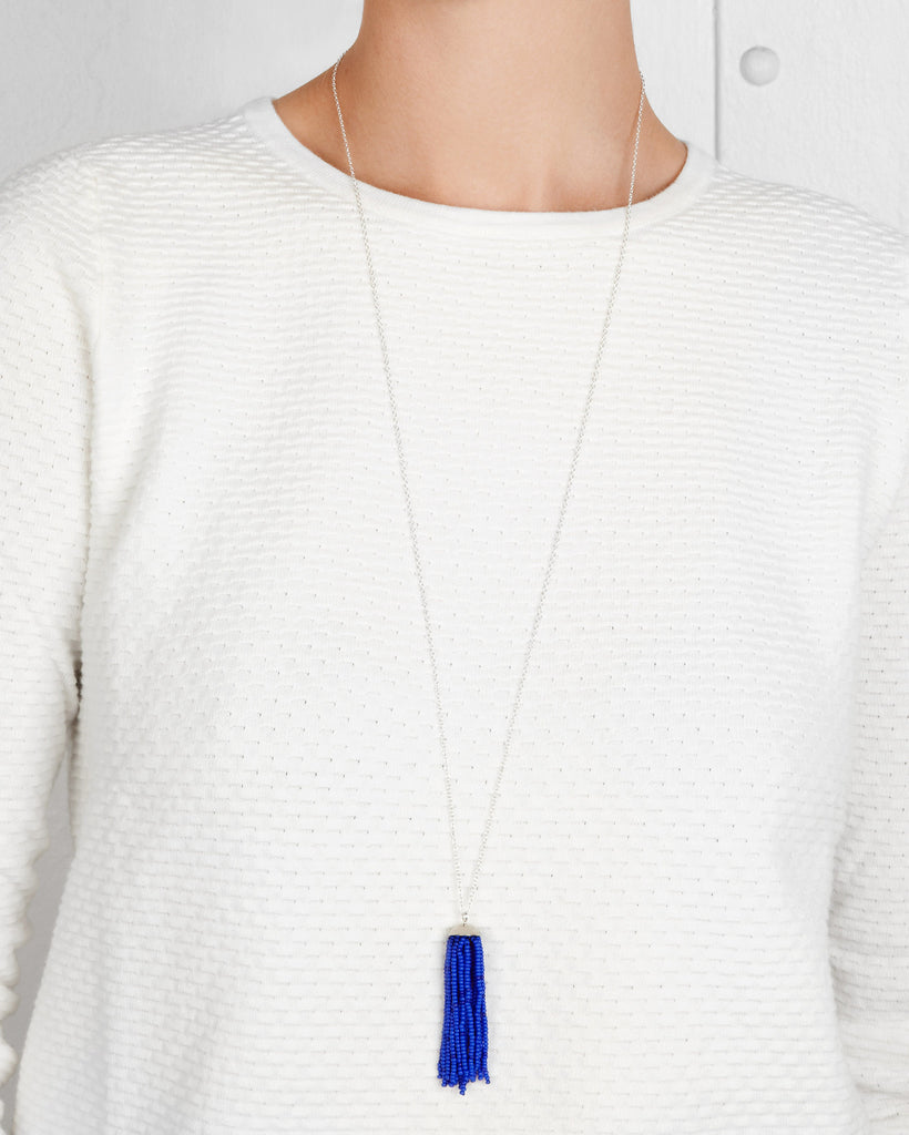 Lapis Tassel Necklace in Silver