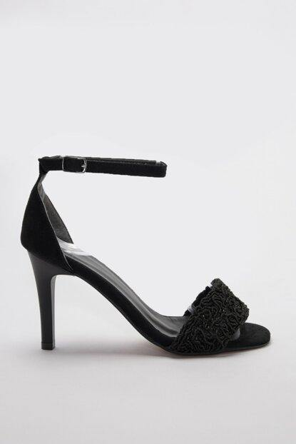 Women's Knit Detail Black Classic Heeled Shoes