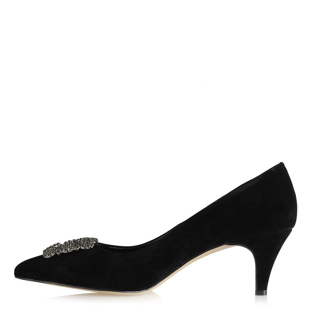 Women's Low Heeled Gemmed Black Shoes