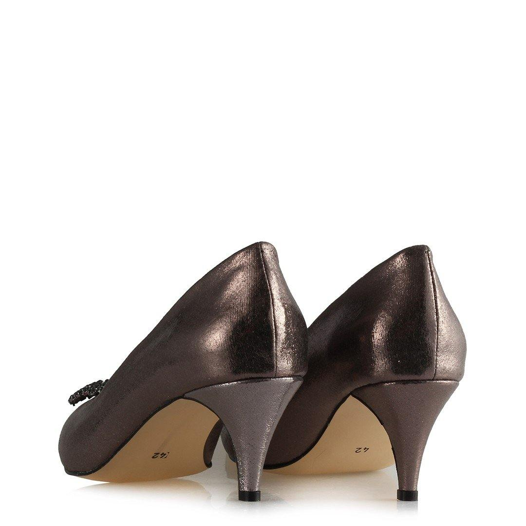Women's Gemmed Buckle Gilded Smoky Heeled Shoes