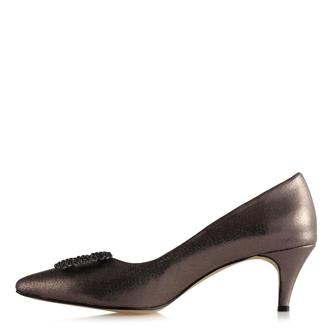 Women's Gemmed Buckle Gilded Smoky Heeled Shoes - Kuther Market