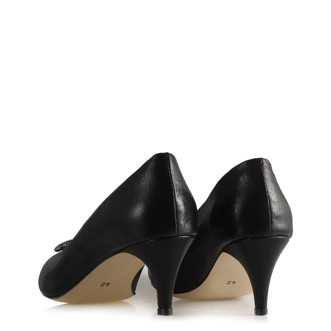 Women's Gemmed Buckle Black Heeled Shoes