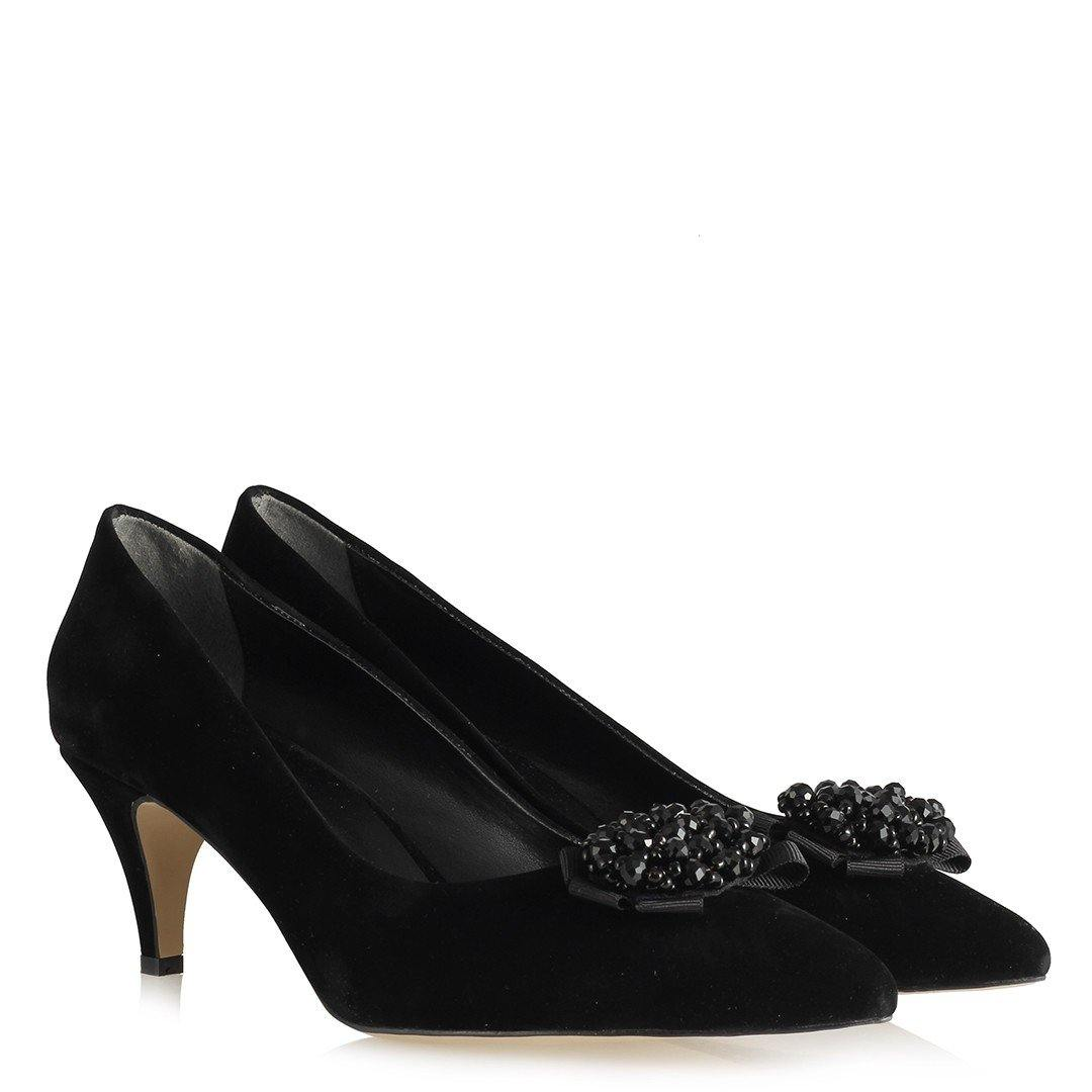 Women's Buckle Black Suede Heeled Shoes - Kuther Market