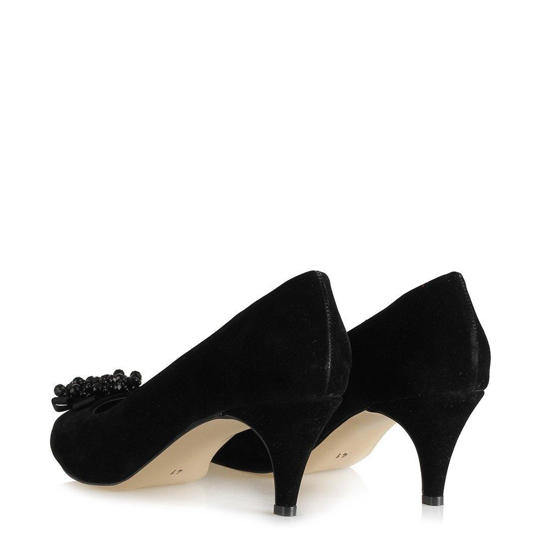 Women's Buckle Black Suede Heeled Shoes