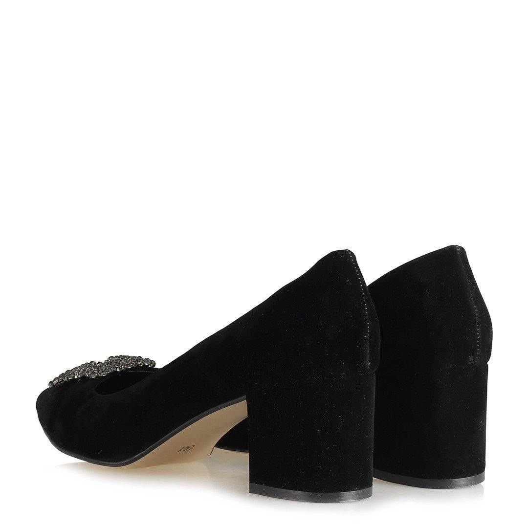 Women's Black Suede Thick Heeled Shoes