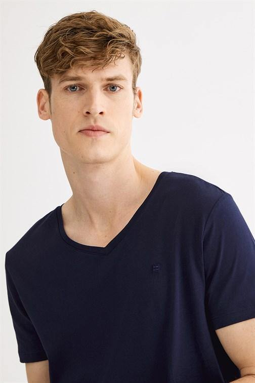 Men's V Neck Plain Soft T-shirt