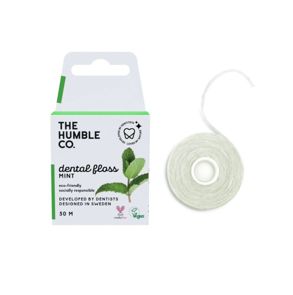 As many as 700 million plastic floss containers are discarded each year! The Humble has eliminated the need for a plastic case, as the packaging itself becomes your floss dispenser.  The refreshingly flavoured and candelilla wax-covered, slightly textured thread, is carefully designed to gently remove the hidden nasties and leave your mouth feeling so fresh and so clean.    ✔️ environmentally friendly packaging ✔️ vegan ✔️ cruelty-free ✔️ xylitol enriched