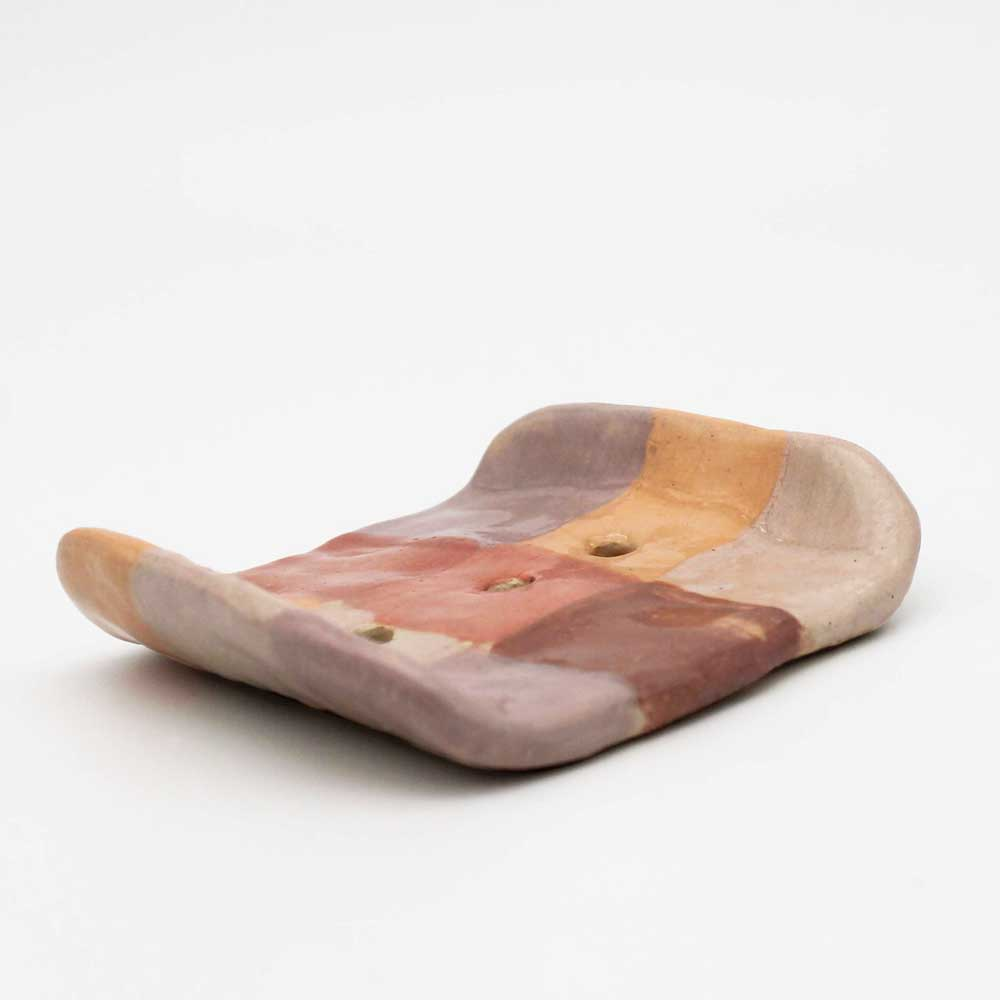 Ceramic Soap Tray Pink Check