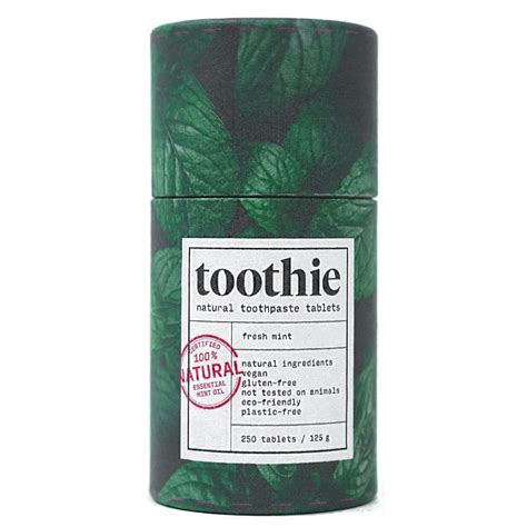 With a gentle powder base of Kaolin and Sodium Bicarbonate, complete purity is achieved. The flavour of green mint and essential herbal extracts are taking care of the freshness in your mouth!  There are approximately 250 tablets in one packaging, which is enough for about 4 months of brushing your teeth twice a day!  Mint tabs and Toothie Activated Charcoal are Fluoride-free.