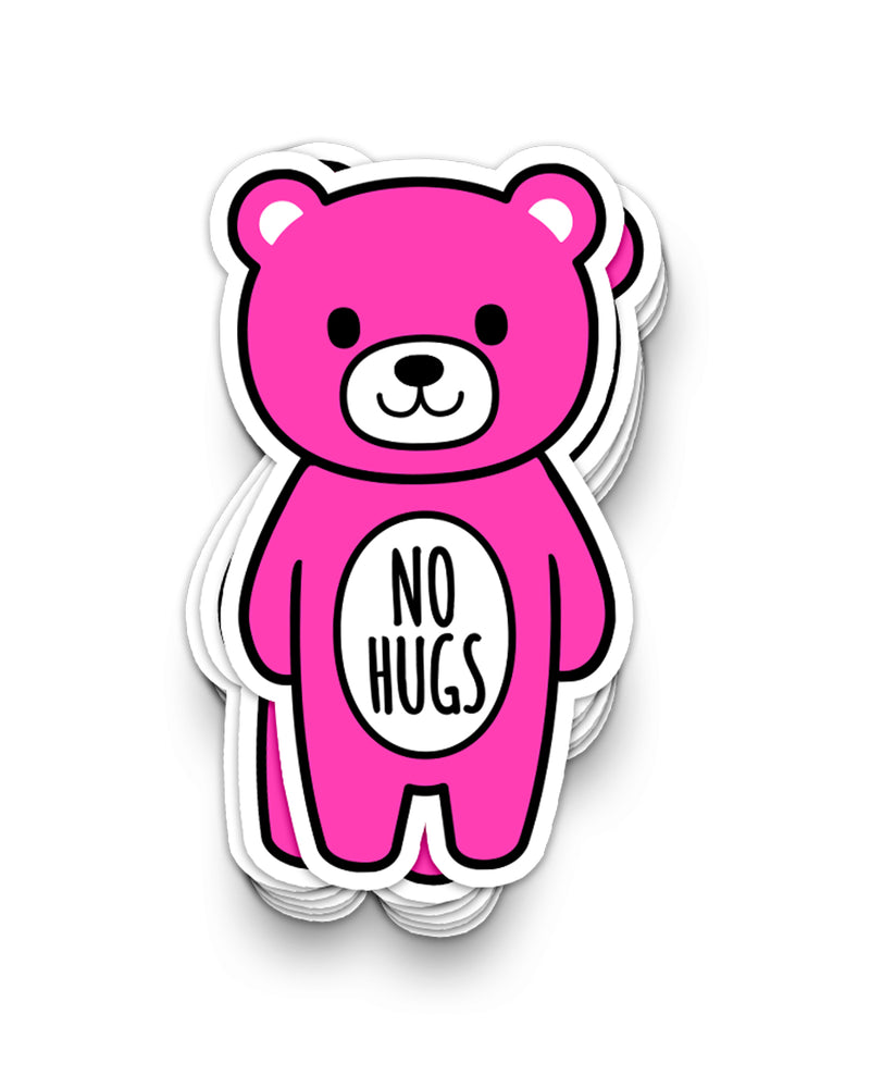 NO HUGS Mood Bear Vinyl Sticker