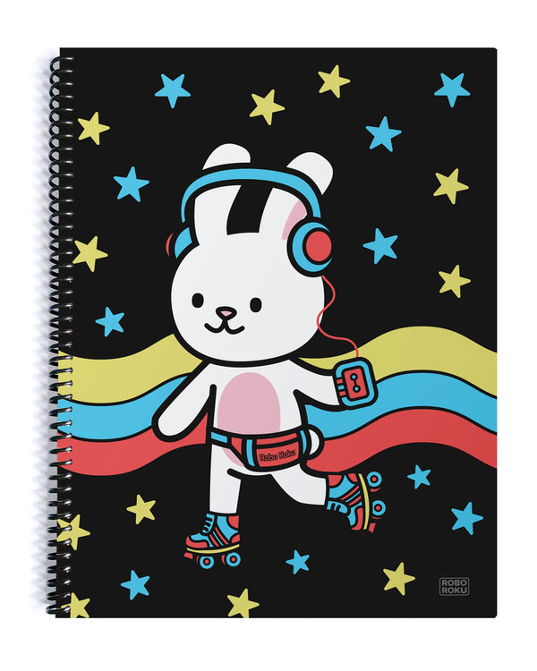 LP the Bunny Retrocade Skate Spiral Notebook
