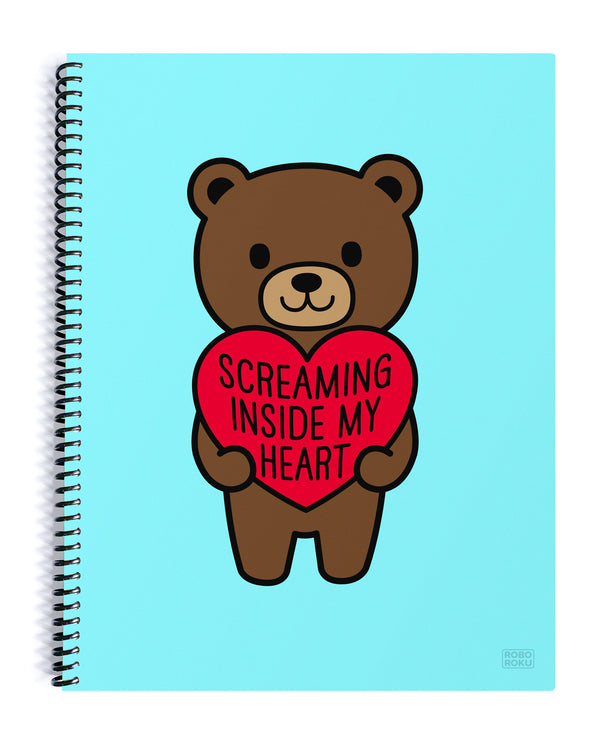 Screaming Inside My Heart Mood Bear Spiral Notebook