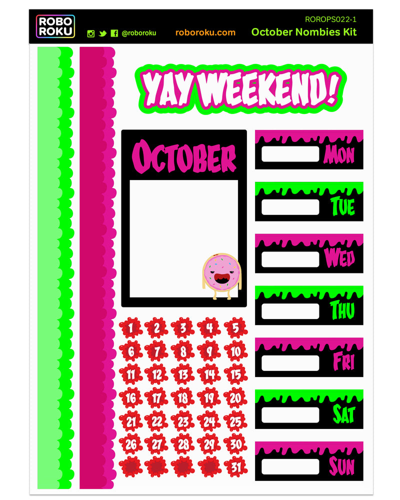 October Nombies Weekly Kit - Planner Stickers