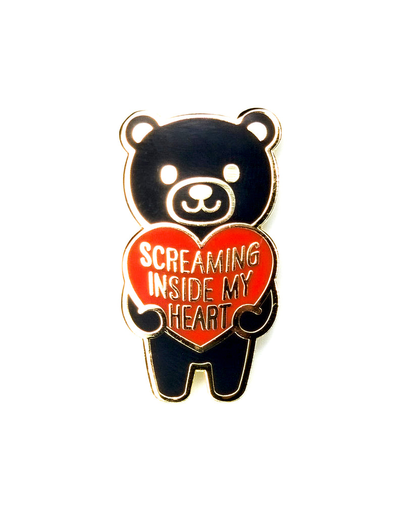 Screaming Inside My Heart Mood Bear Enamel Pin Pal