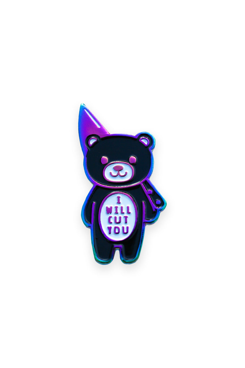 I Will Cut You - Rainbow Metal Pin