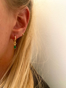 Boucles d'oreilles mini rectangle vert