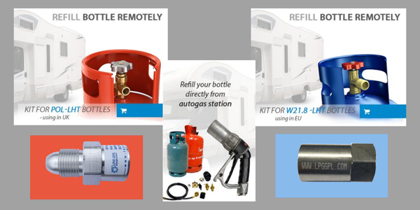 refillable gas bottle adaptor kit remote with hose orange grey or blue bottles