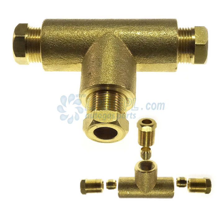 8 x 8 x 8mm Compression T Brass High Pressure Gas